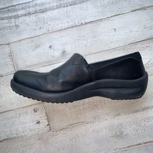 Skechers Black Leather Slip On Clogs Comfort Shoe